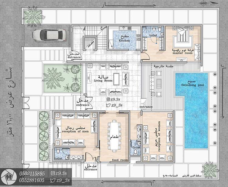 تصميم فيلا مودرن مساحة الدور الارضي ٢٥٠م٢ المدينة المنورة المدينة المنورة مخططات الرياض مخطط الشرقية Family House Plans Model House Plan Home Map Design