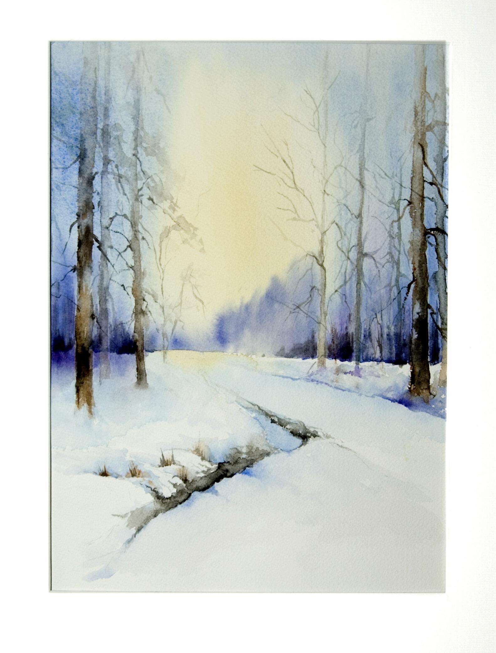 Landscape Watercolour By Michel Malengreau Paysage Aquarelle