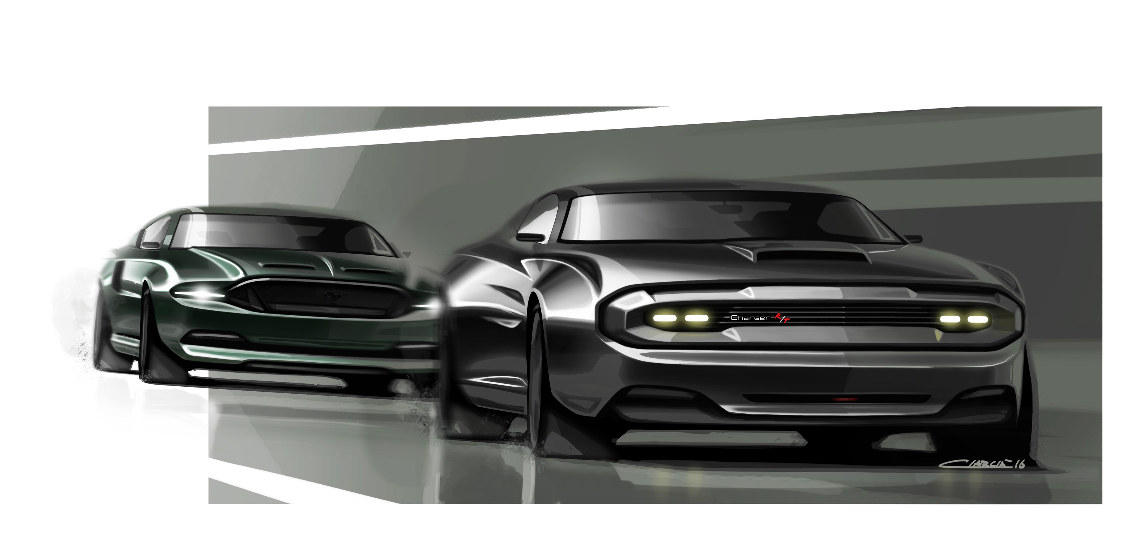Muscle Cars Pt On Behance Car Sketches Pinterest Car