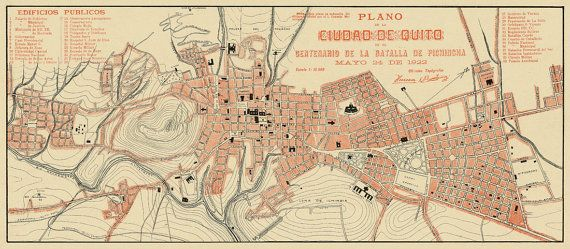 Old map of Quito - Ciudad de Quito - Vintage map print on paper or Quito Map on