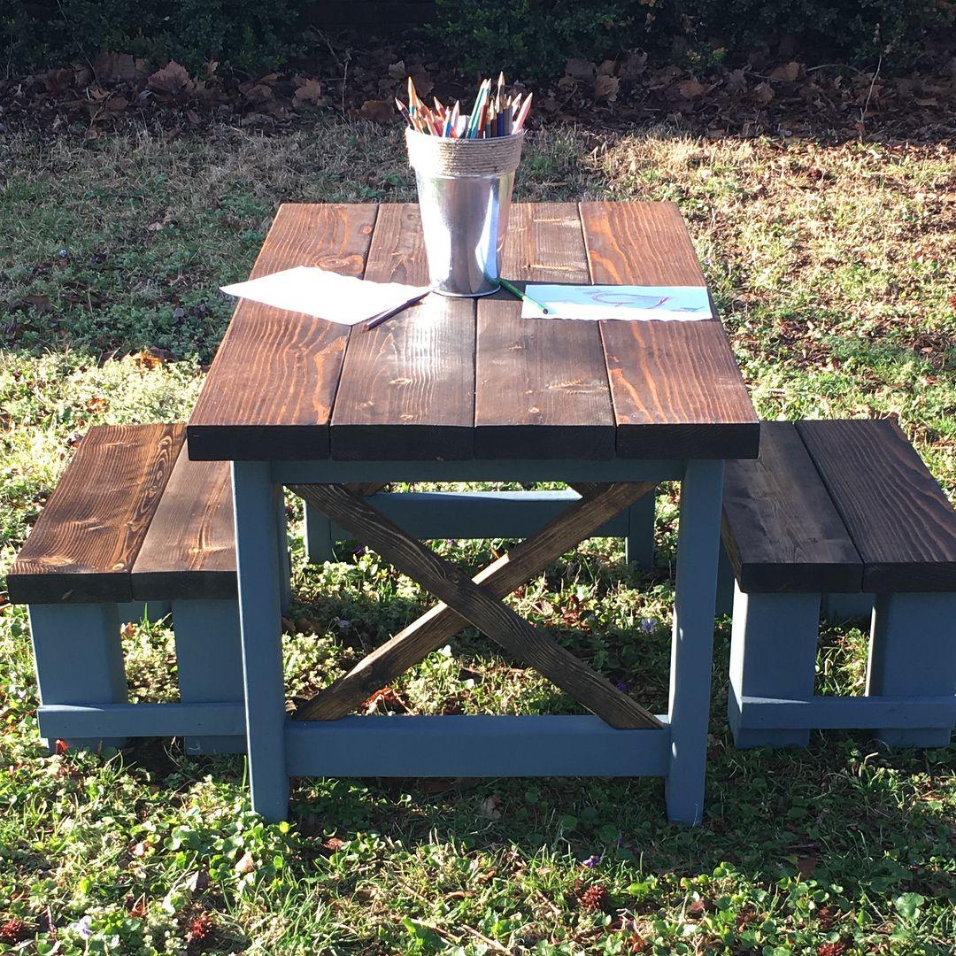 Wondrous Our Latest Farmhouse Kids Table And Bench Set Is Ready For Creativecarmelina Interior Chair Design Creativecarmelinacom