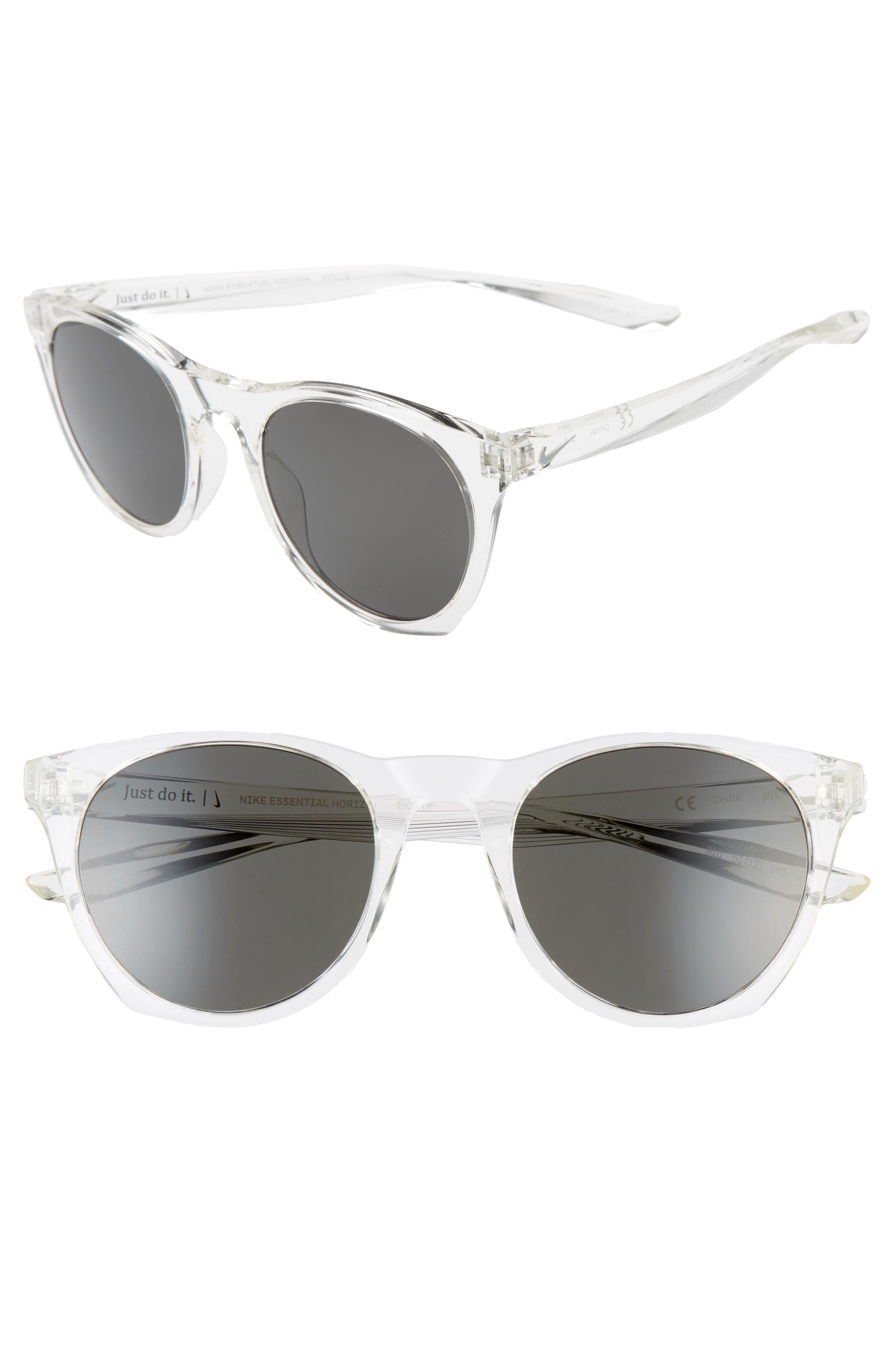 Nike Essential Horizon 51Mm Sunglasses Clear/ Dark Grey