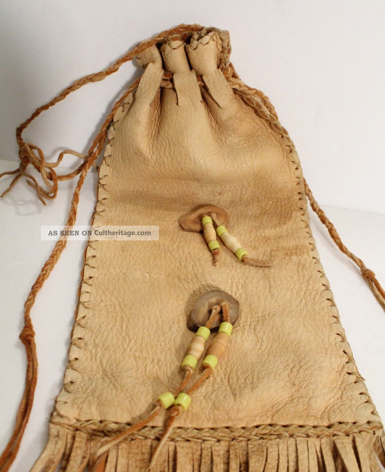 Native American Indian Leather Medicine Bag Tobacco Pouch