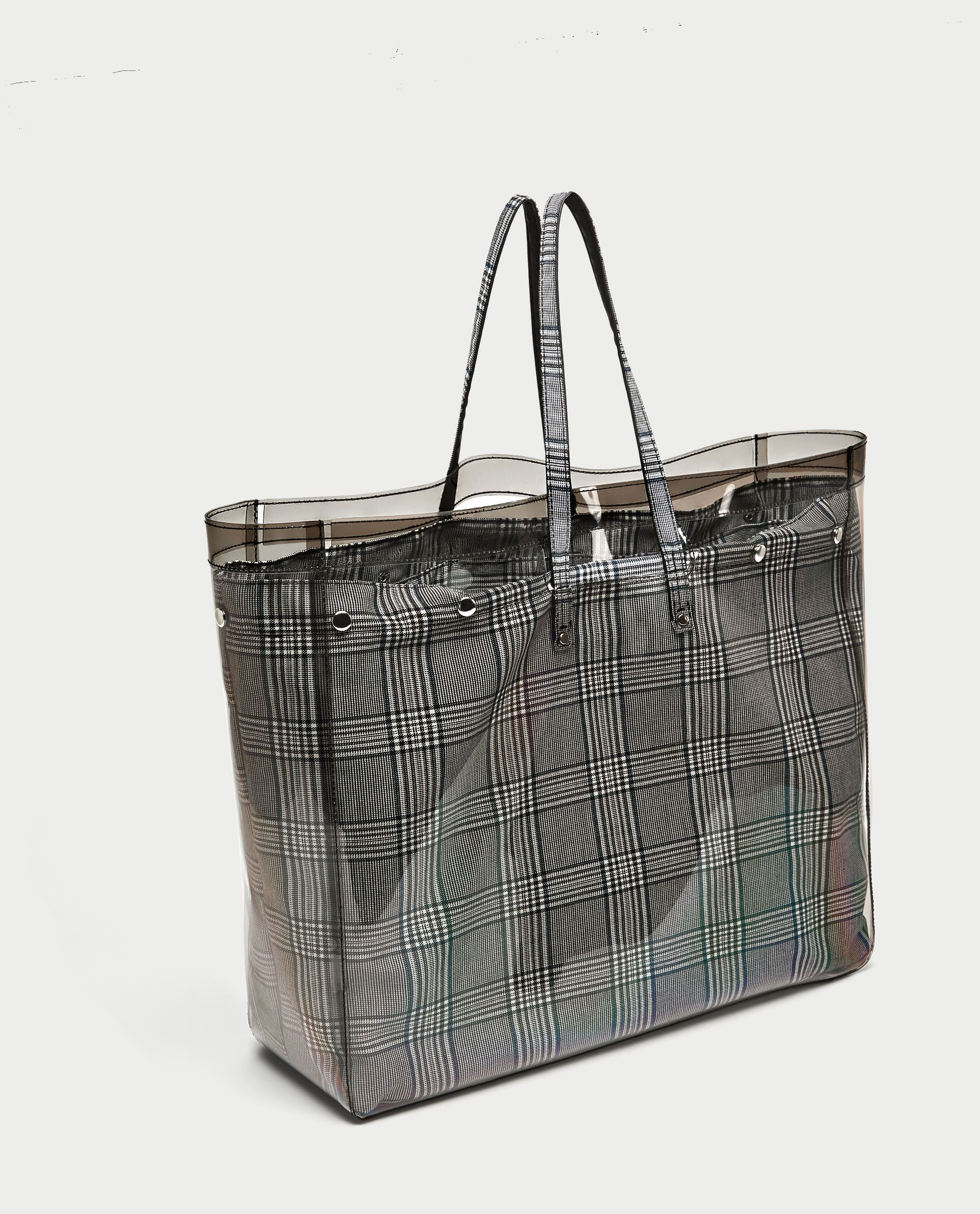 Image 3 Of Checked Vinyl Tote Bag From Zara Bags Tote Bag Holographic Bag
