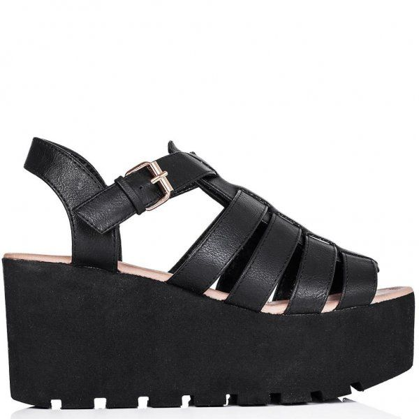 daf40b6568f0 Spylovebuy.com    SURF Cut Out Cleated Sole Flatform Platform Sandal Shoes  - Black Leather Style