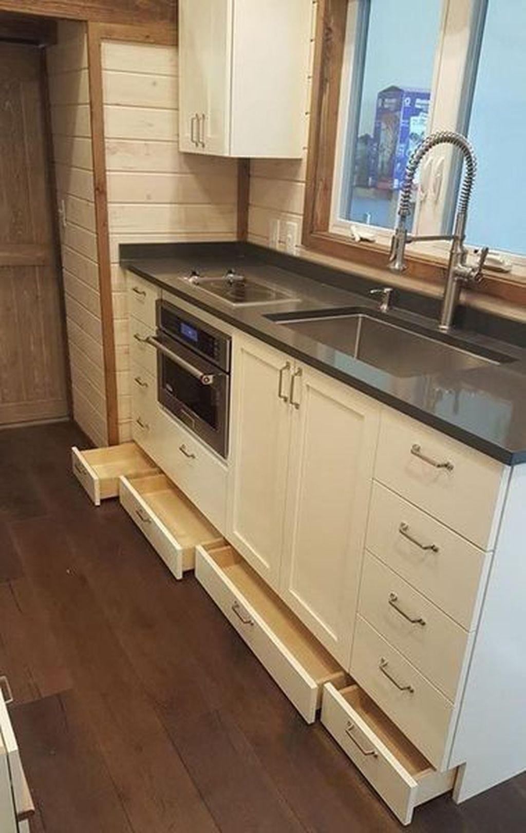 Stylish 30 Wonderful Kitchen Cabinets Ideas For Your Tiny House Homedecorideas Livingroom Bedroom I Tiny House Kitchen Kitchen Design Small Kitchen Layout
