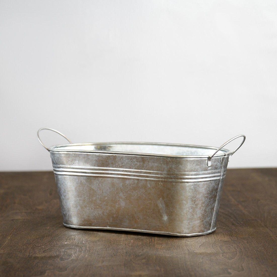 Silver Oval Metal Bucket: for creamers, milk, bailey's. Galvanized ...