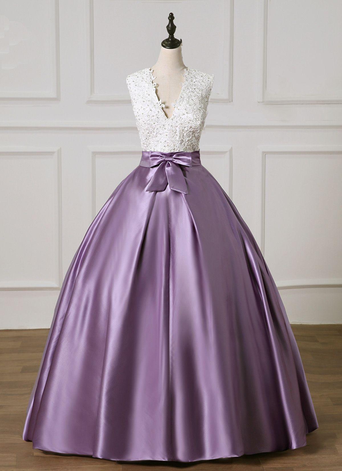 Light Purple Satin White Lace V Neck Long Prom Dress Bridal Dress Promdress Prom Dress Purple Wedding Dress A Line Wedding Dress Princess Outfits [ 1650 x 1200 Pixel ]