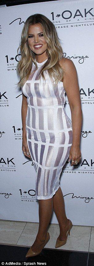 Khloe Kardashian highlights her shapely derriere in shimmering dress #dailymail