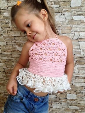 Crochet toddler baby ruffled top Pink ivory open back crop top Boho clothing for kids Beach vacation childrens outfit Summer girl halter top