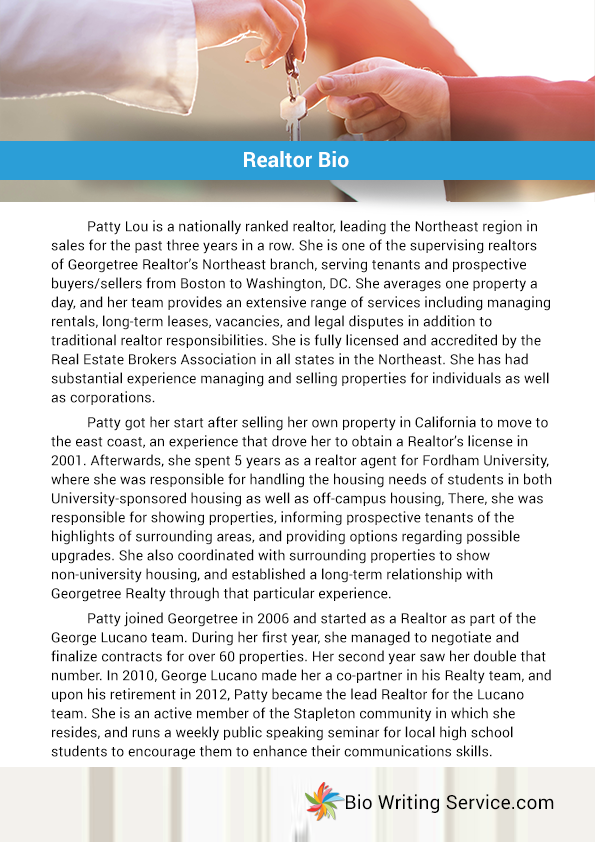 if you do not have good writing skills  this realtor bio