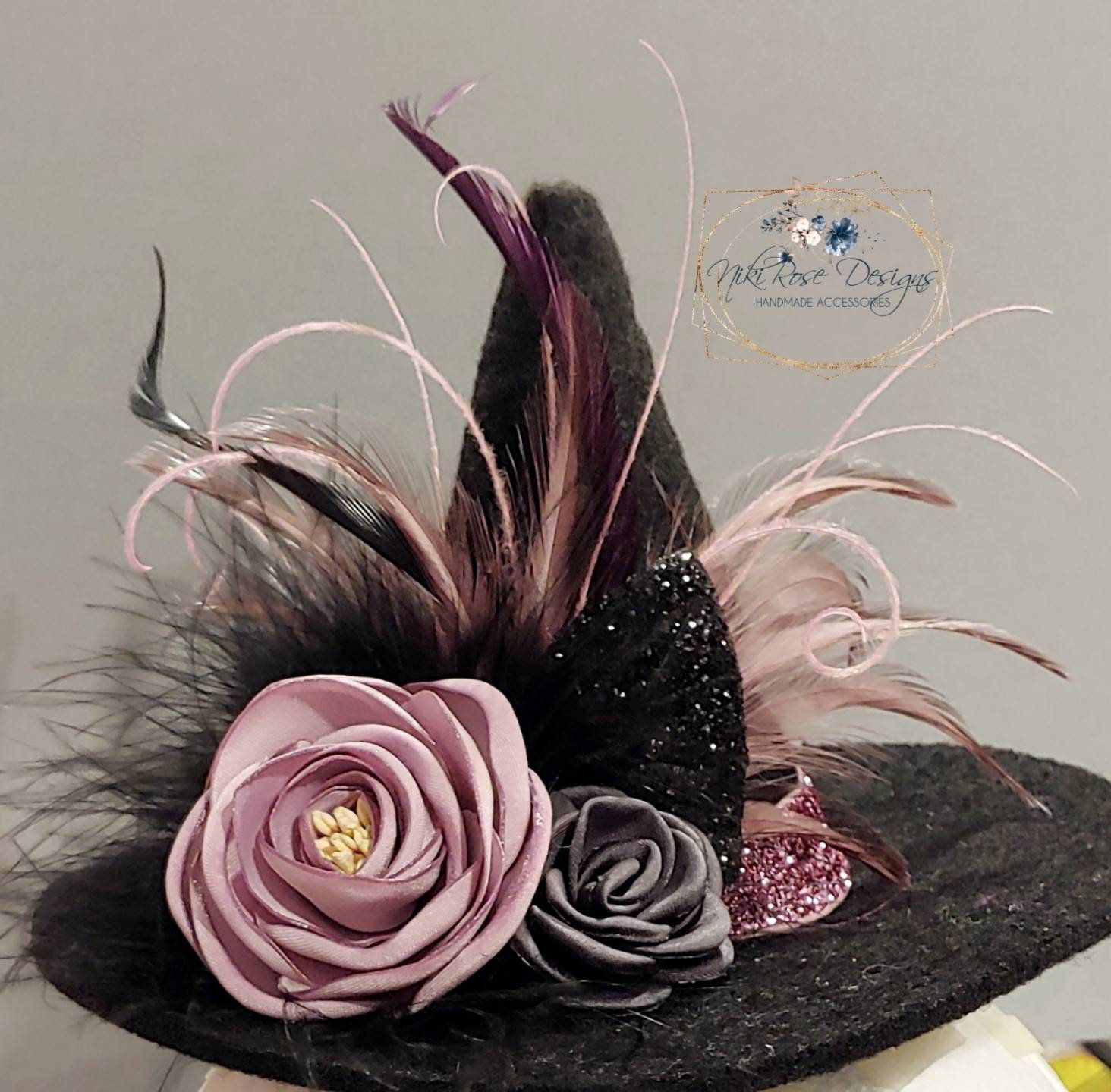 Mini Witch Hat Fascinator Headband || Mauve Dusty Rose & Charcoal Feathered Witches Hair Clips, Custom Order, Halloween Costume Photo Prop