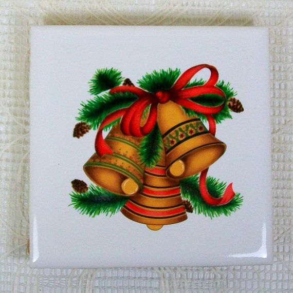 Ceramic Trivet with Christmas Bells Ceramic Spoon Rest Ceramic