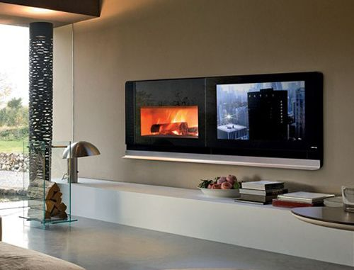 5- tv and fireplace, side by side - and somewhere to rest things ...