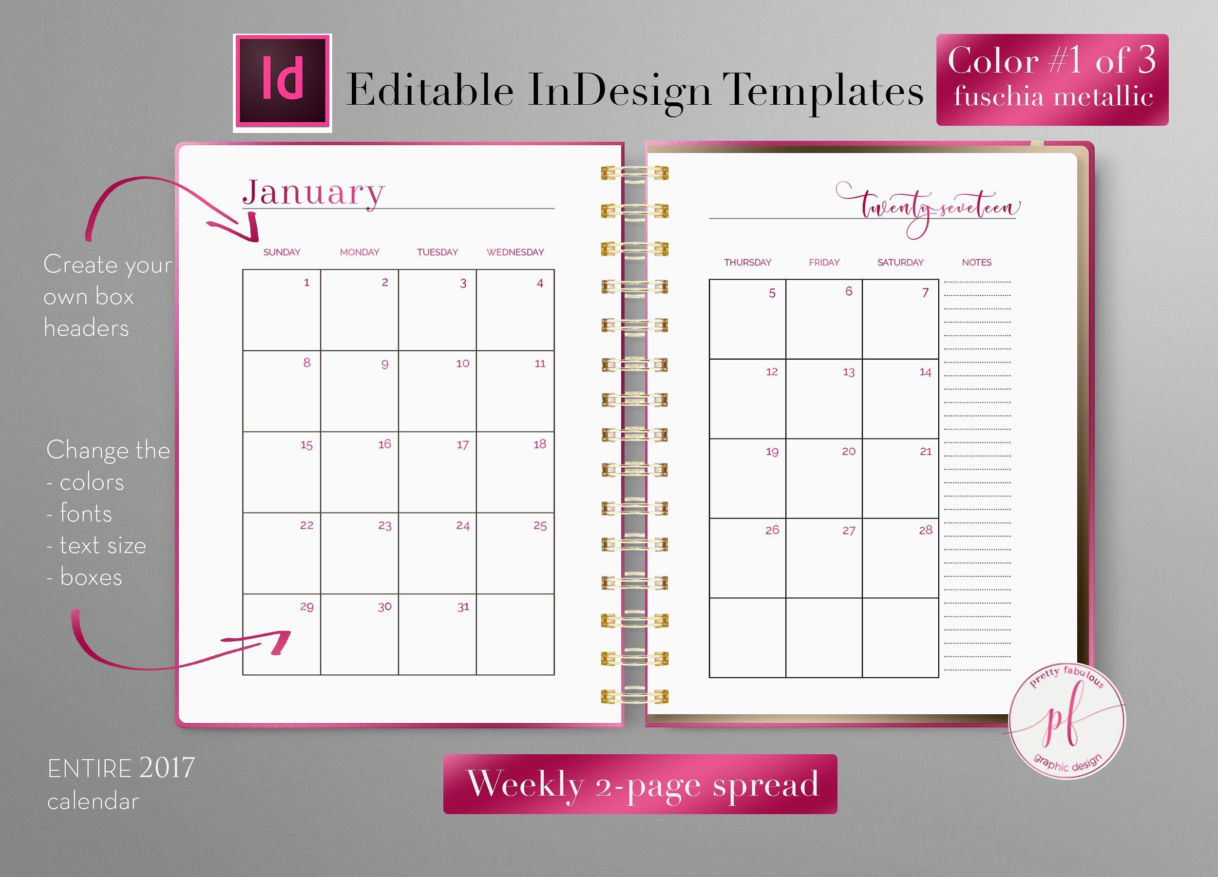 Monthly Planner Indesign Template Indesign Templates Indesign
