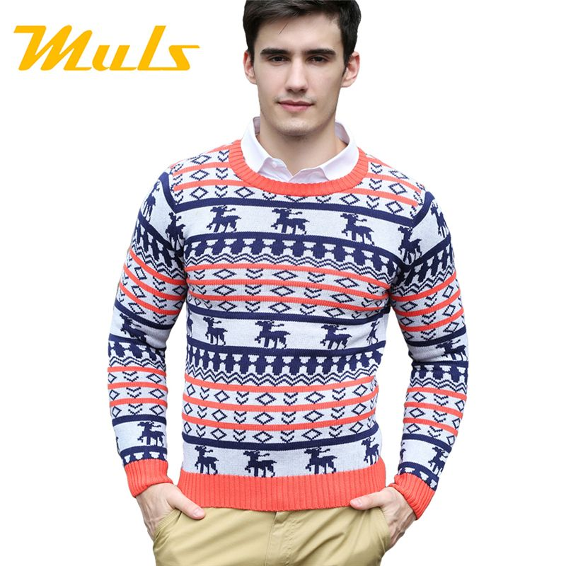 Pull homme deer ugly christmas sweater men cotton wool o neck ...