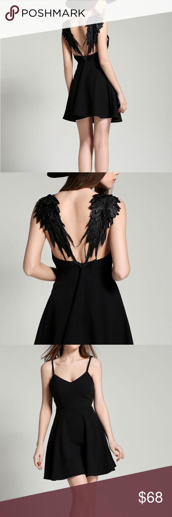 Black Angel Wings Mini Dress Goth Chic Boutique   Kleider, Halloween ...