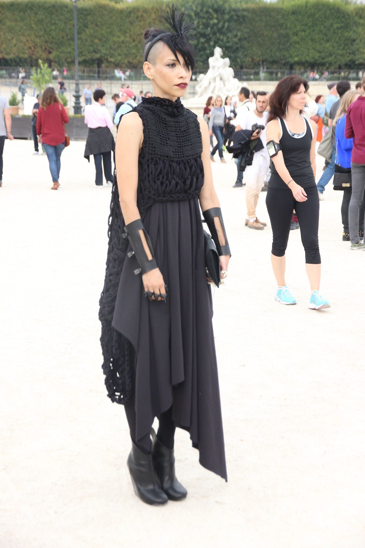 Lily Gatins during Paris Fashion Week by Paris Street Style. Dress by Area Barbara Bologna