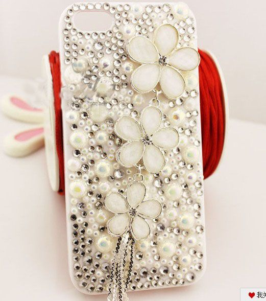 White pearls bling phone case