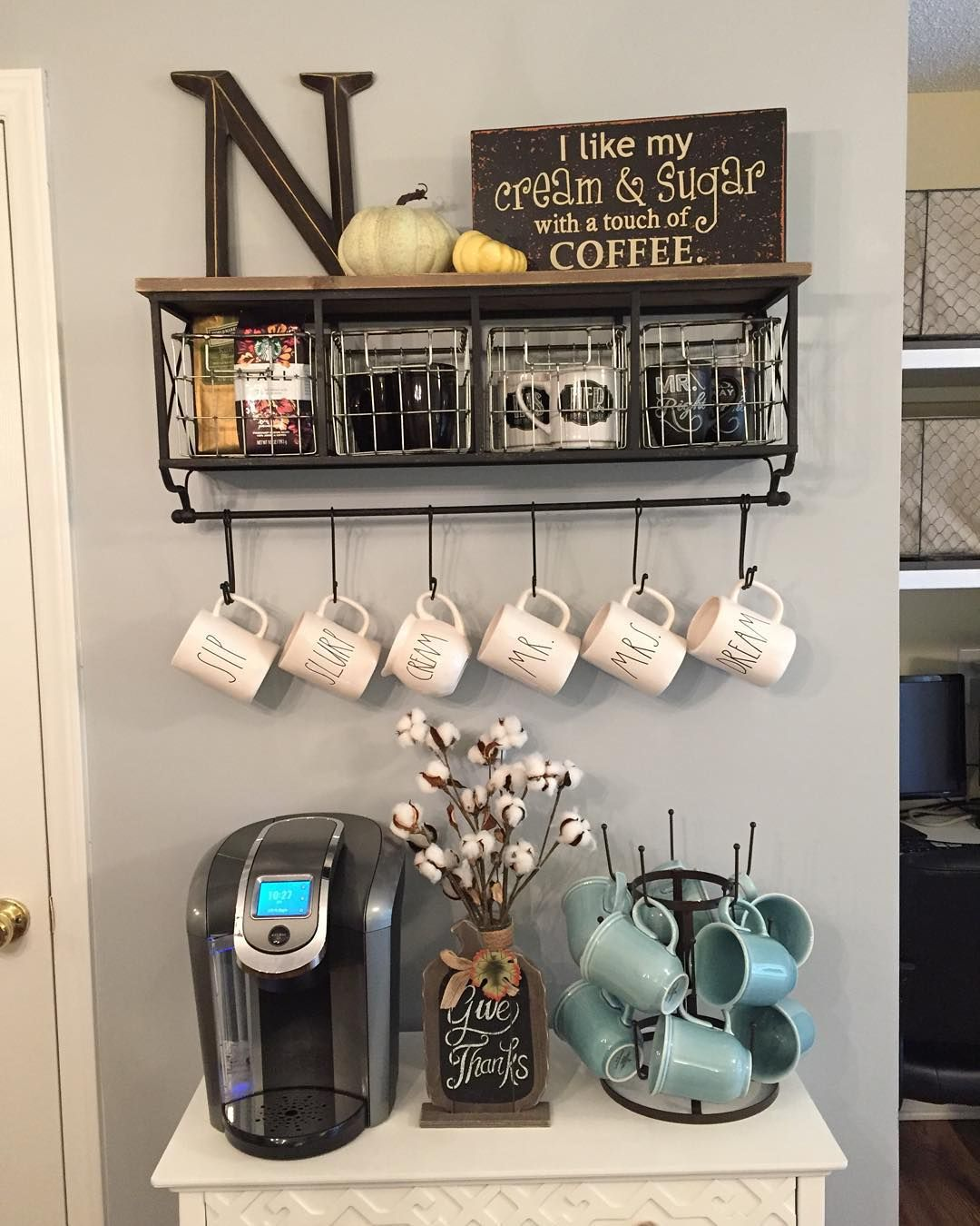 Coffee Station Metal & Wood Shelf with Baskets & 7Hooks