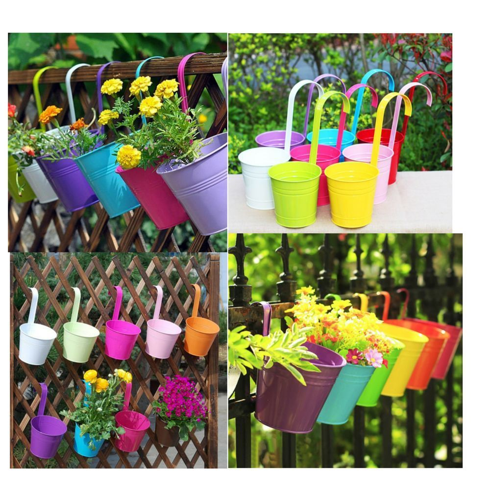 Outdoor Hanging Wall Holder Pot Set 10 Pcs Multi Color Garden ...