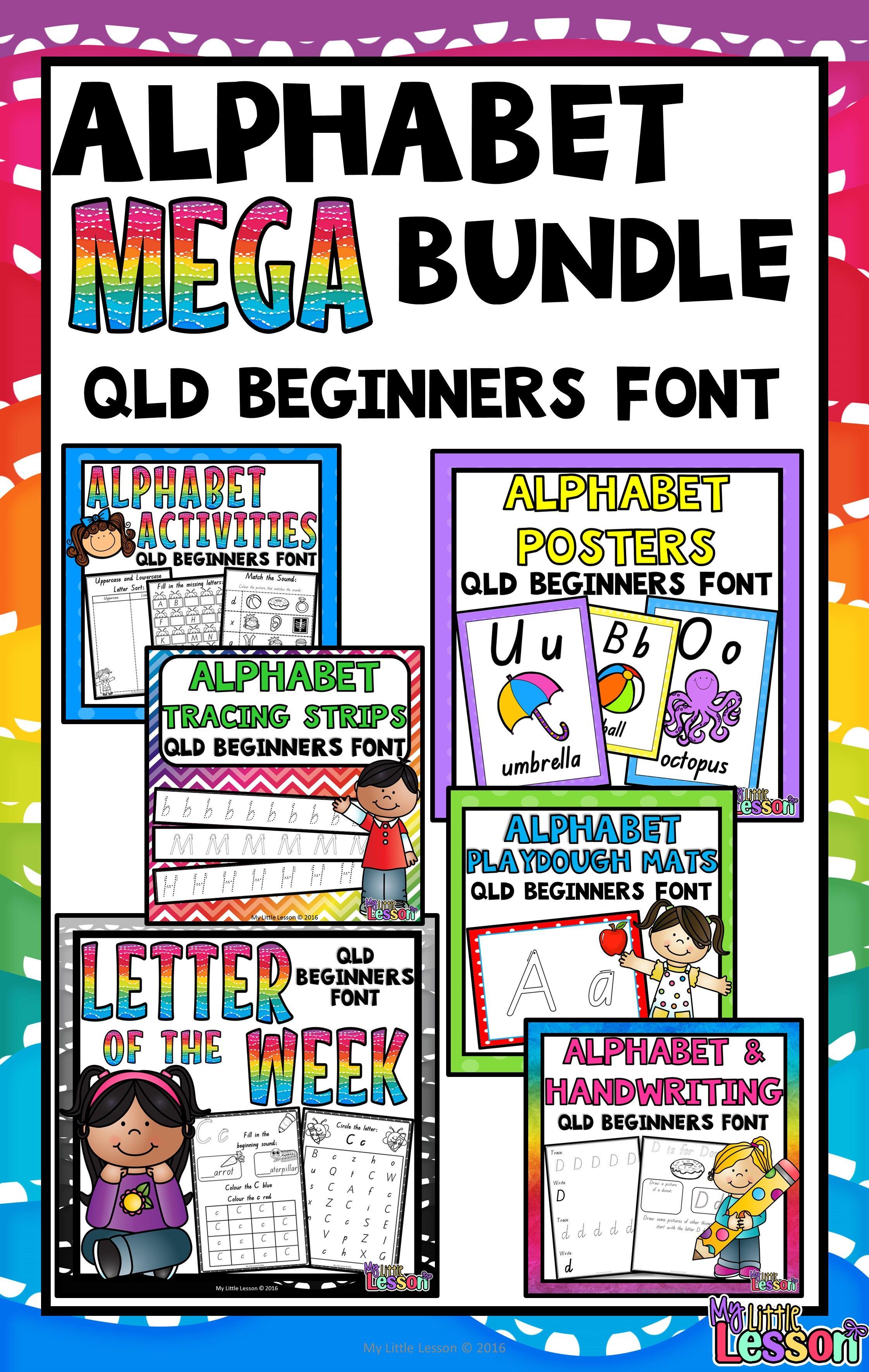 alphabet mega bundle qld beginners font worksheets posters handwriting alphabet book. Black Bedroom Furniture Sets. Home Design Ideas