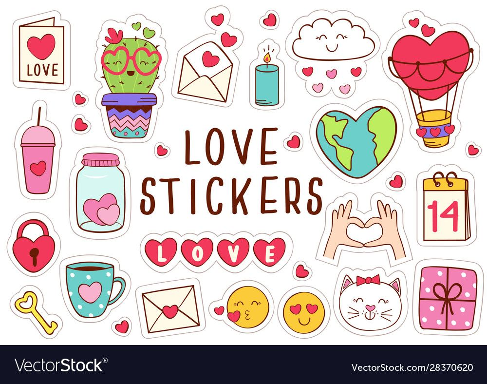 Set Isolated Love Stickers Part 1 Vector Image On Vectorstock Love Stickers Stickers Printable Stickers