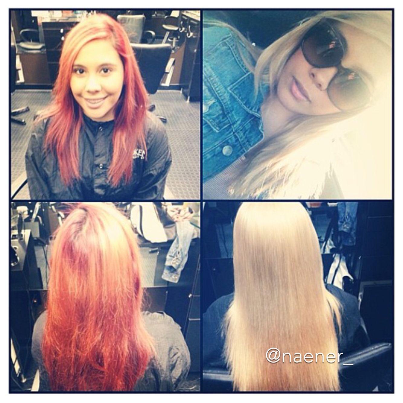 Instagram: naener_  Red hair to platinum blonde in ONE day! Before olaplex