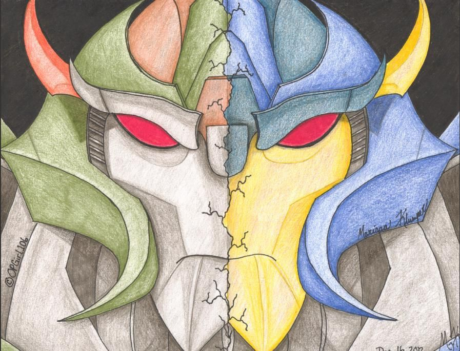 """This piece is titled, """"Brothers"""". Skyquake and Dreadwing from Transformers Prime.  Skyquake & Dreadwing (c) Transformers Prime; Hasbro Studios"""