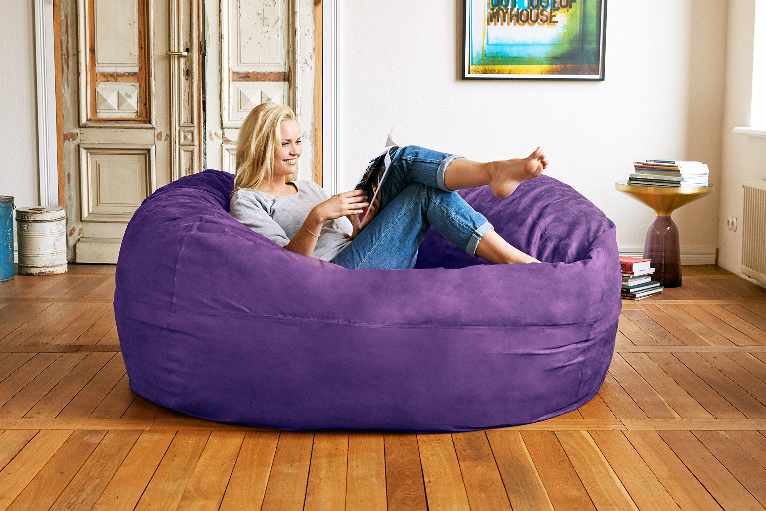 Lumaland Luxury 6foot Bean Bag Chair With Microsuede Cover Purple Machine Washable Big Size Sofa And Giant Lounger Furniture For Kids T Bean Bag Chair Furniture