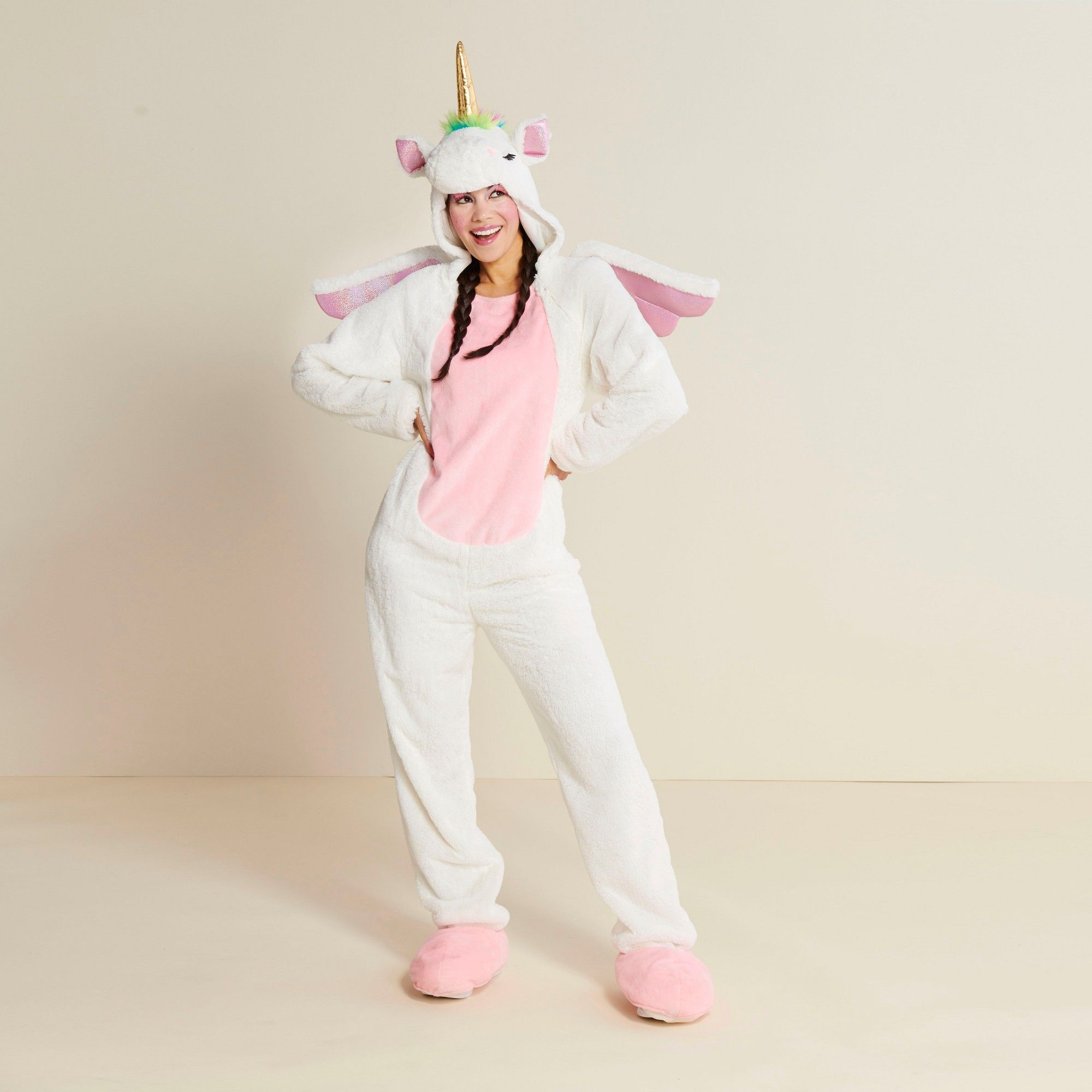 c7f5d8d88b93 Adult Plush Unicorn Halloween Costume S - Hyde and Eek! Boutique, Adult  Unisex, Pink Gold White