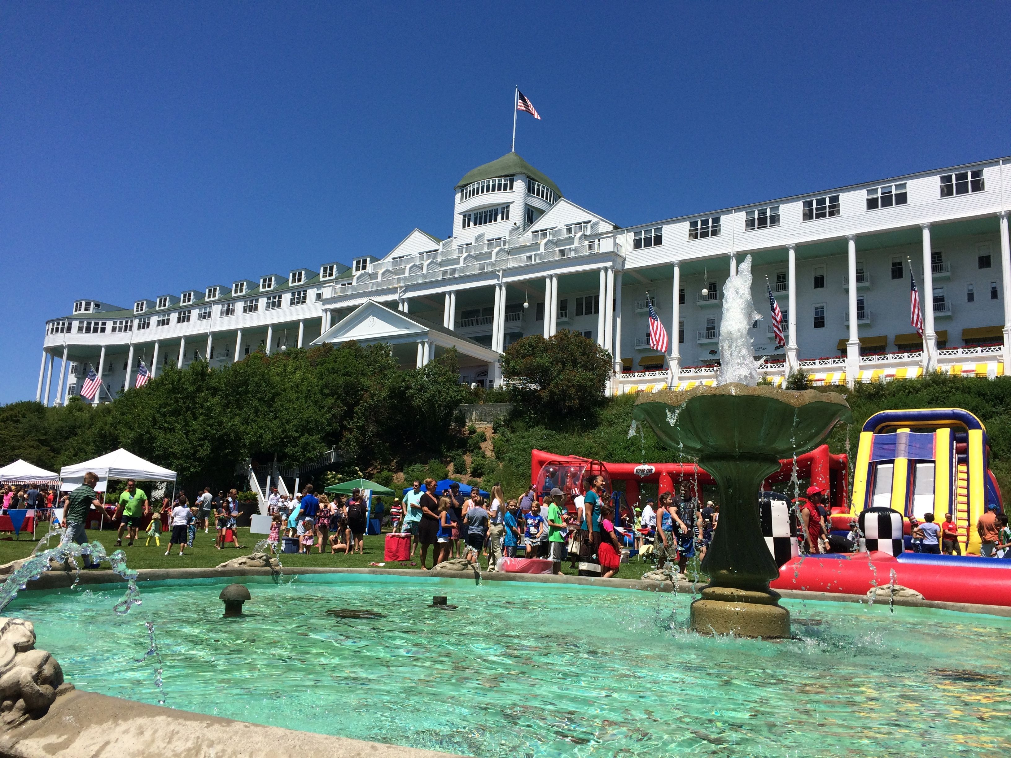 Grand Hotel On Mackinac Island From The Lawn Over The 4th Of July Great Place To Be Lots Of Family Activities Great Places Grand Hotel Mackinac Island