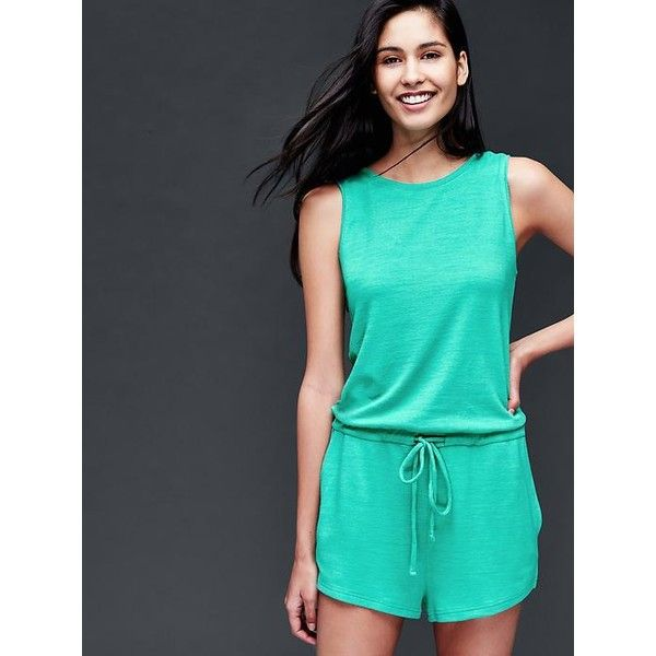 977ae400c0aa Gap Women Scoop Back Tie Romper ( 50) ❤ liked on Polyvore featuring  jumpsuits
