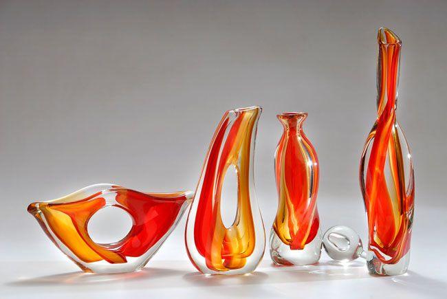 floreros en vidrio soplado