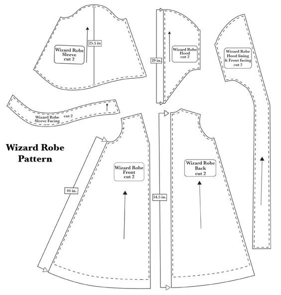 ClaireSanders.net: Wizard Robe, enlarge pattern yourself to fit and ...
