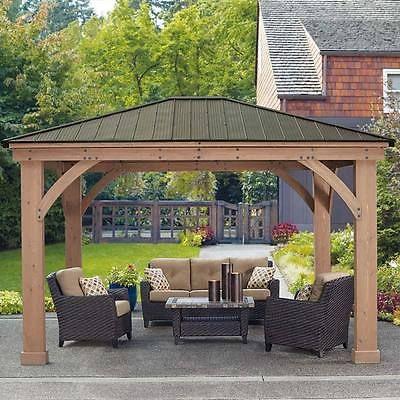 Wooden Patio Pergola Gazebo Garden Aluminium Roof Sun Shade Rain