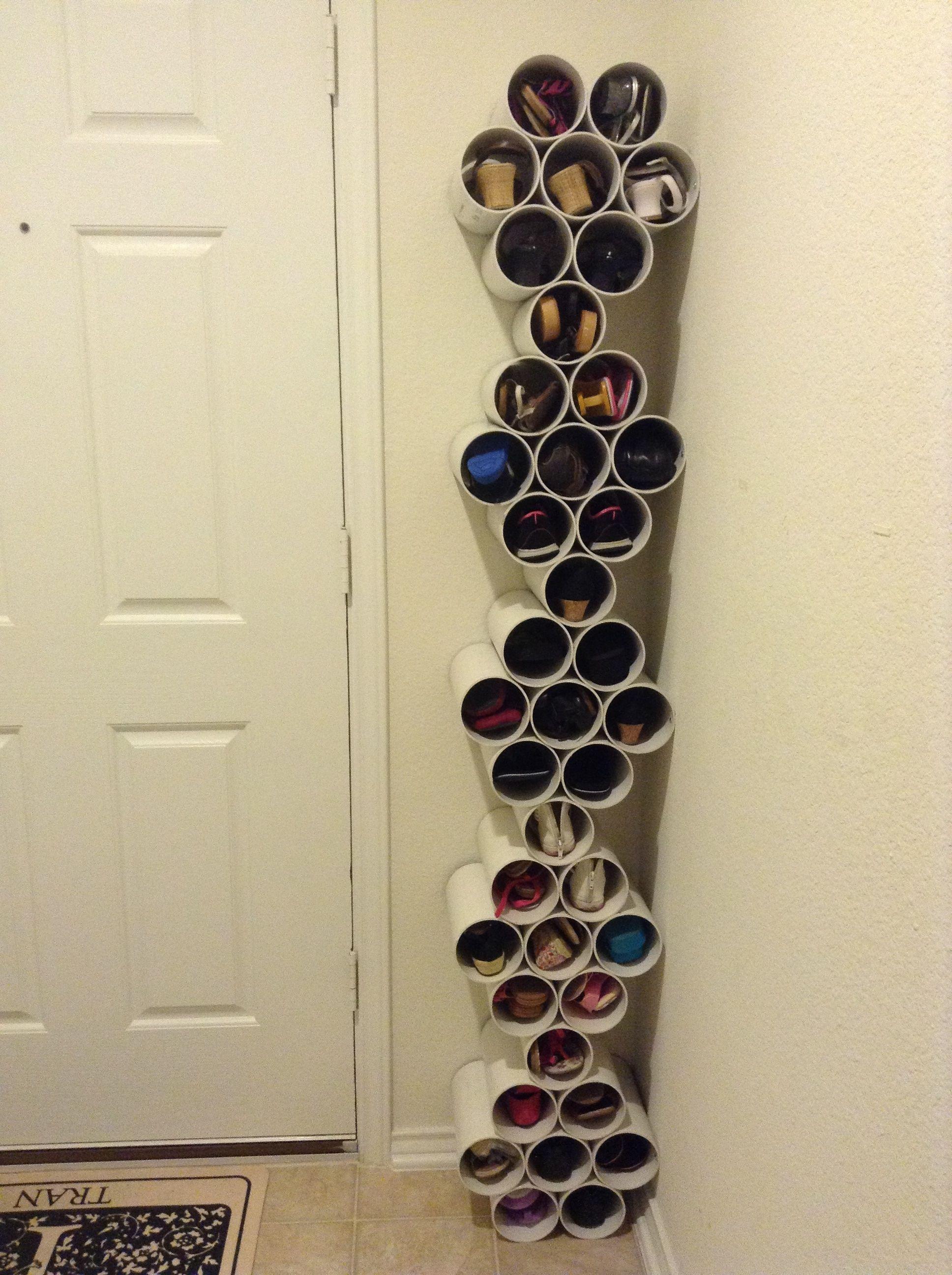 PVC pipe cement glue Shoe rack Pinterest