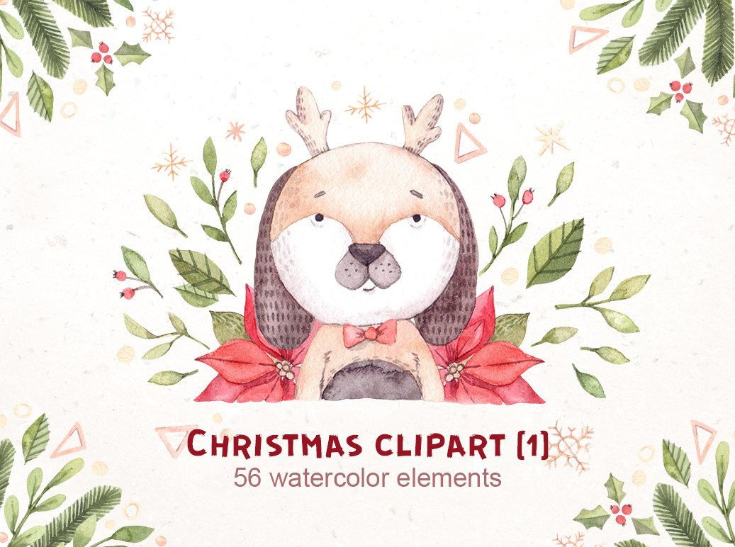 Christmas clipart watercolor illustrations christmas etsy