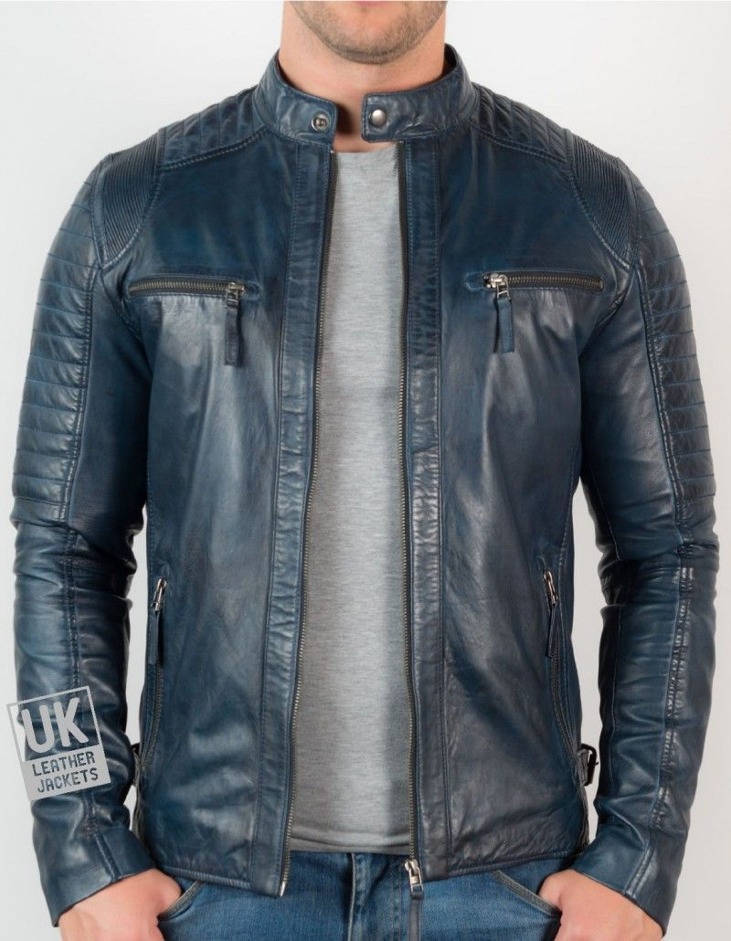 Leather Jacket In Blue A New Trend For The Wardrobe Mens Navy Blue Leather Biker Jacket Cru Mens Blue Leather Jacket Leather Jacket Men Jackets Men Fashion [ 1030 x 800 Pixel ]