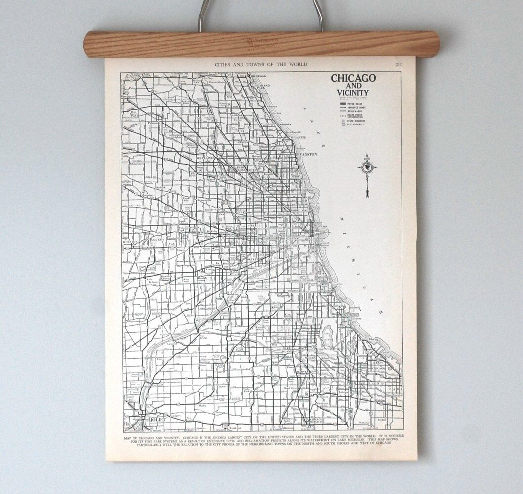 Chicago 1930s  Antique City Map by reclaimer on Etsy https://www.etsy.com/listing/113739923/chicago-1930s-antique-city-map