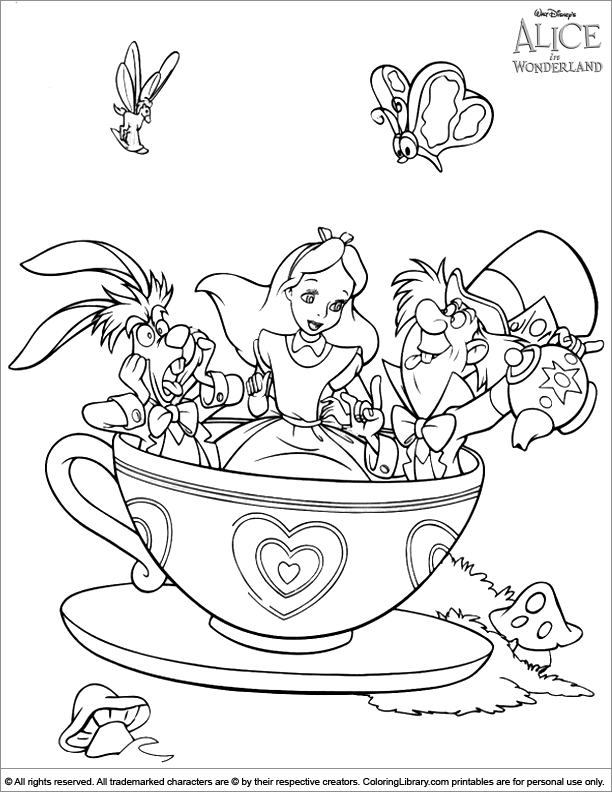 Alice in Wonderland and the tea cup ride fun coloring page