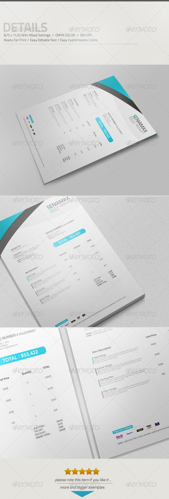 professional invoice template vol 3  graphicriver details