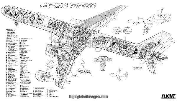 Boeing 757-300 Cutaway Poster as Photographic Prints
