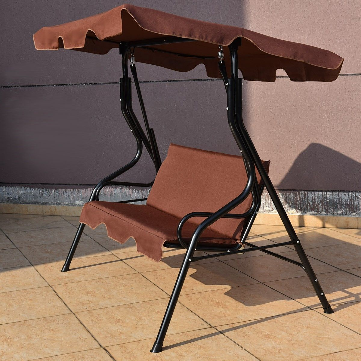 Costway Seats Patio Canopy Swing This elegant threeseat patio swing