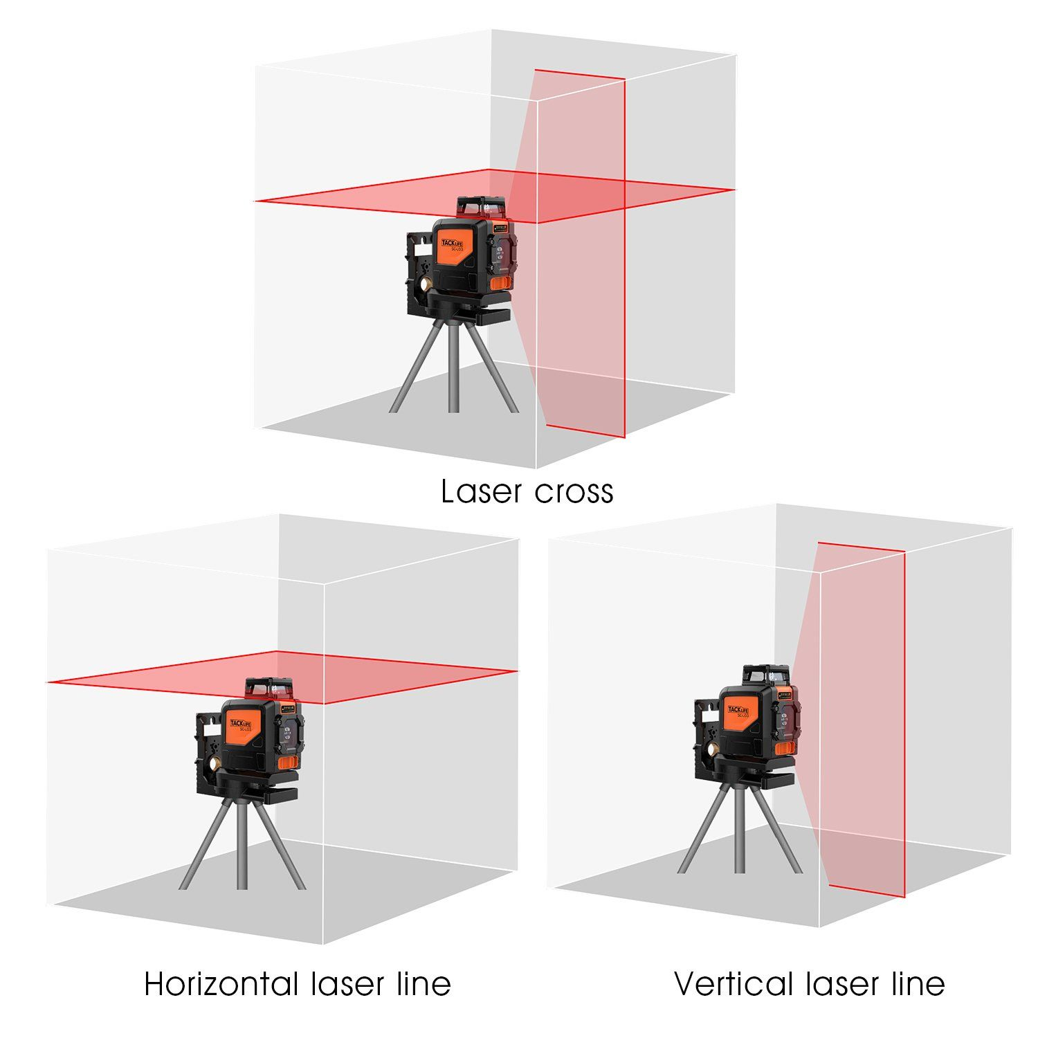 Laser Level Tacklife Sc L03 98ft Crossline Self Leveling 360 Degree Horizontal Line Magnetic Pivoting Base Carrying Pouch 2x Pu Laser Levels Laser Rotary