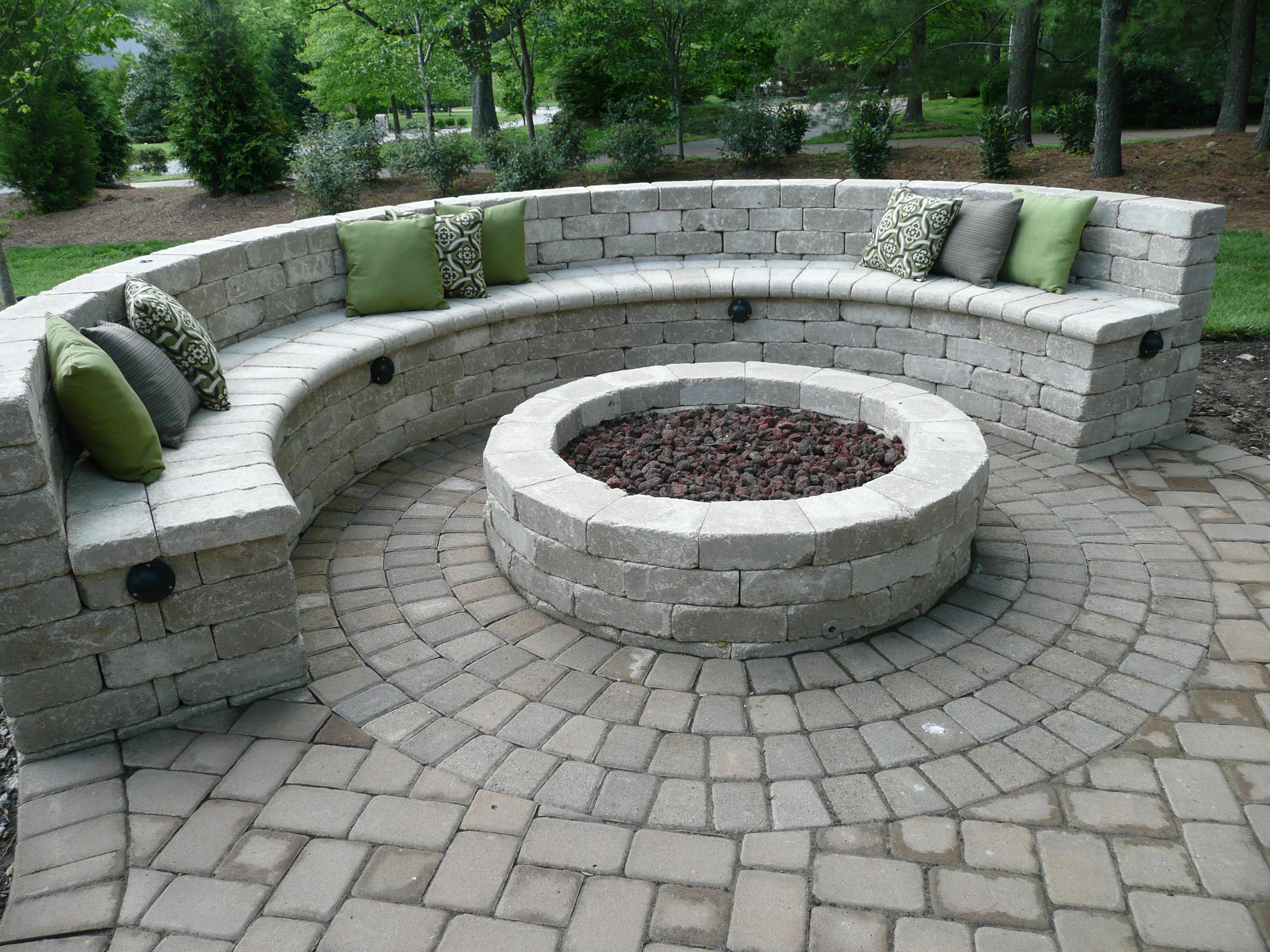 seat bench with gas fire pit