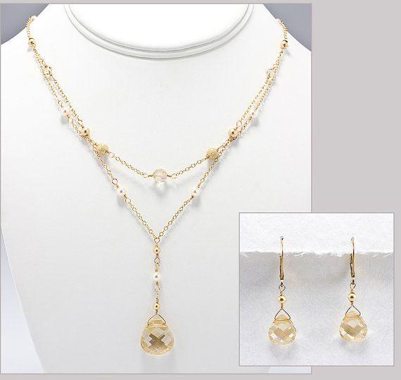 Bridal Jewelry Set Champagne Teardrop Necklace Earrings Gold