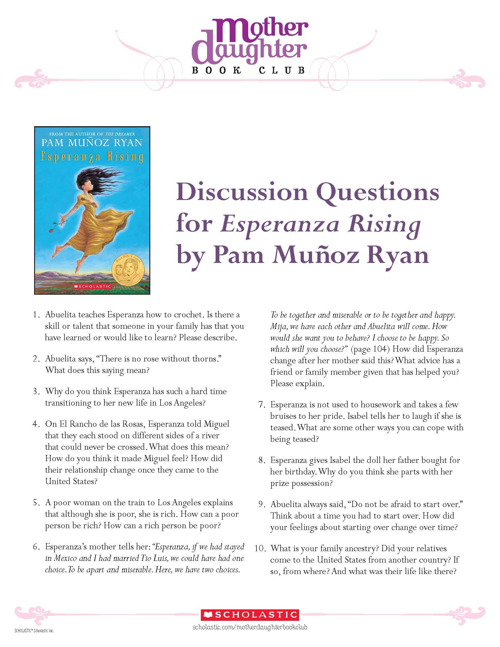 Discussion Questions For Esperanza Rising By Pam Munoz Ryan