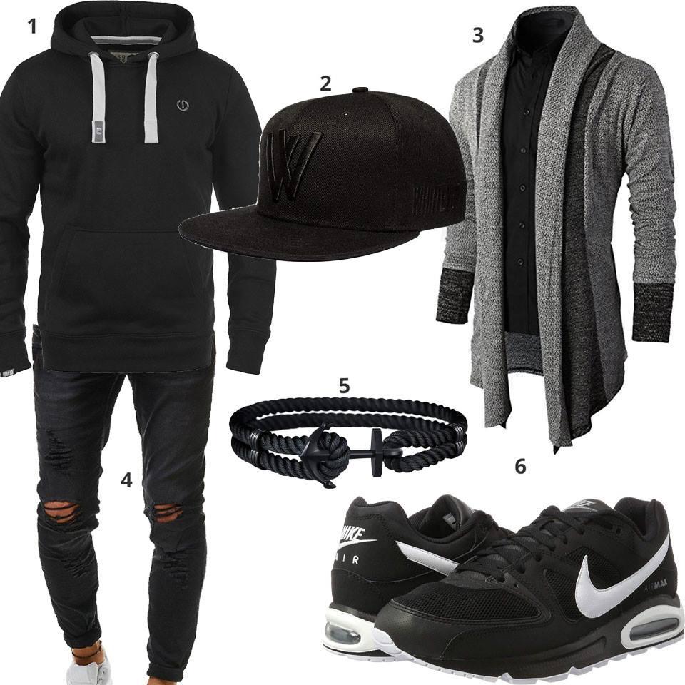 Schwarzes Herrenoutfit mit grauer XL Strickjacke | Outfit