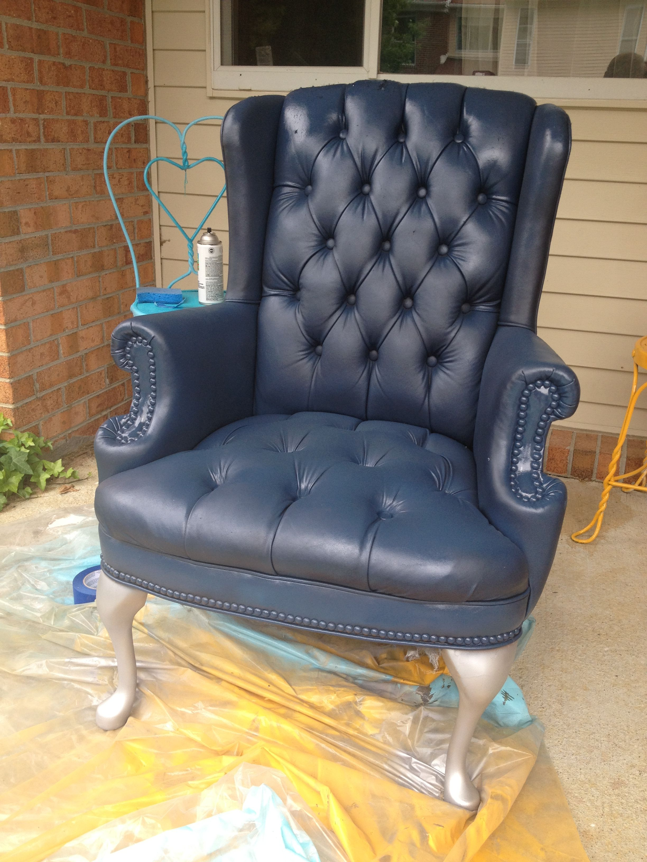 DIY: Painted Faux Leather / Pleather / Vinyl Armchair. Deep Sea Blue Chair  With